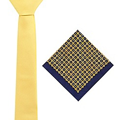 Red Herring - Yellow skinny tie and floral pocket square set