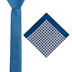 Red Herring - Blue plain tie and floral tile pocket square set