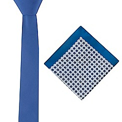 Red Herring - Bright blue tie and floral tile pocket square set