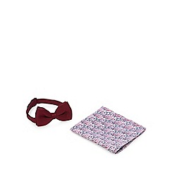 Red Herring - Dark red knitted bow tie and pocket square set