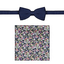 Red Herring - Navy bow tie and floral pocket square set