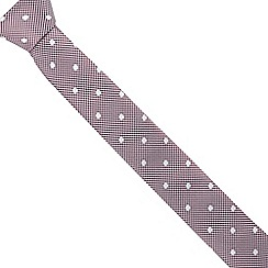 Red Herring - Red and blue diamond textured polka dot skinny tie