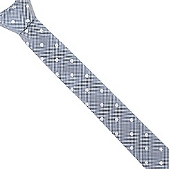 Red Herring - Blue polka dot checked slim tie