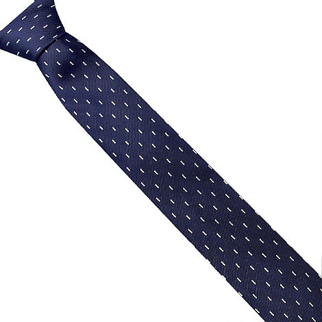 Osborne - Navy linear grid patterned tie