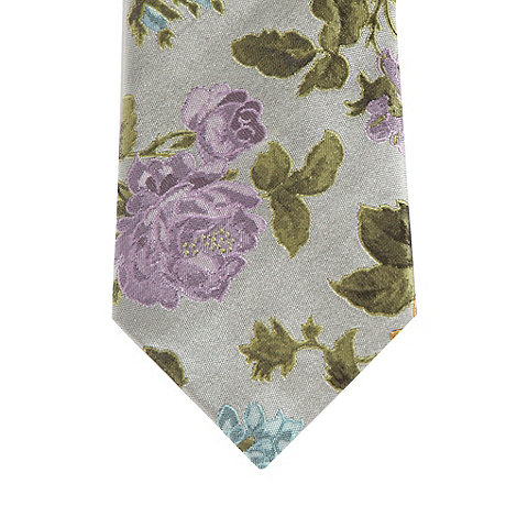 Jeff Banks - Designer silver silk flower tie