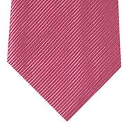 Designer dark pink textured stripe tie