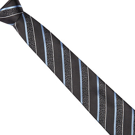 Jeff Banks - Designer grey bold floral stripe tie