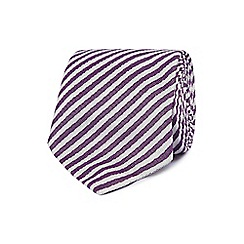 J by Jasper Conran - Purple and white striped silk tie