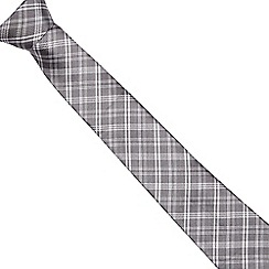 J by Jasper Conran - Grey silk checked print textured tie