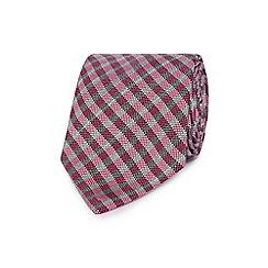 J by Jasper Conran - Pink gingham print textured tie