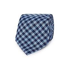 J by Jasper Conran - Blue gingham print textured tie