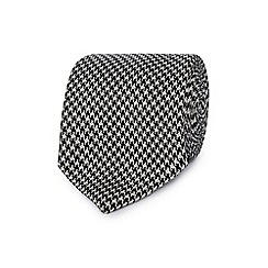 J by Jasper Conran - Black and white dogtooth fine silk tie