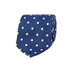 Osborne - Navy and blue polka dot patterned tie
