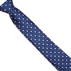 Osborne - Navy and yellow polka dot patterned tie