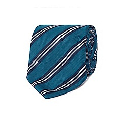 Hammond & Co. by Patrick Grant - Dark turquoise silk stitched tie