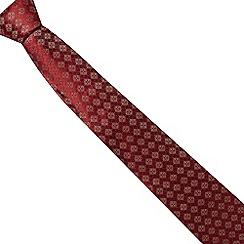Hammond & Co. by Patrick Grant - Dark red tiled print silk tie