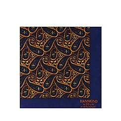 Hammond & Co. by Patrick Grant - Navy silk paisley print pocket square