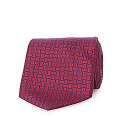 The Collection - Dark pink silk basket weave patterned tie