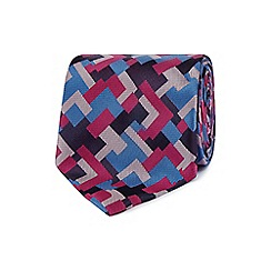 The Collection - Pink Tetris print silk tie