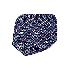 The Collection - Multicoloured dogtooth patterned pure silk tie
