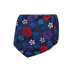 The Collection - Navy floral patterned pure silk tie