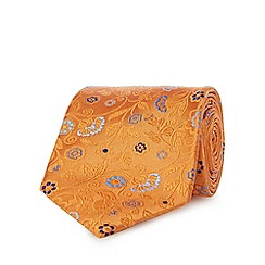 The Collection - Orange pure silk floral patterned tie
