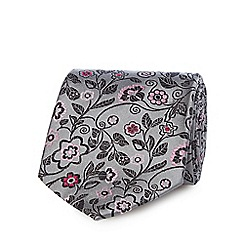 The Collection - Silver silk floral print tie