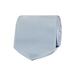 The Collection - Silver plain woven silk tie