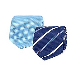 The Collection - Pack of two blue textured ties