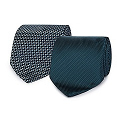 The Collection - Pack of two dark turquoise patterned ties