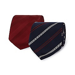 The Collection - Pack of two navy and red striped ties