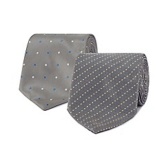 The Collection - Pack of two silver dot patterned ties
