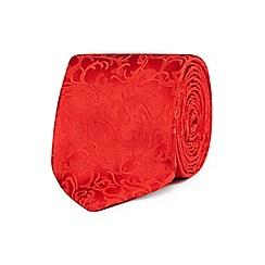Black Tie - Red baroque pattern tie