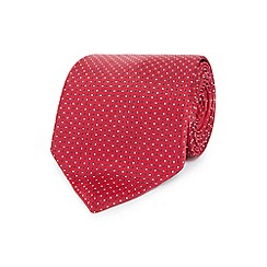 Osborne - Red texture spotted print tie