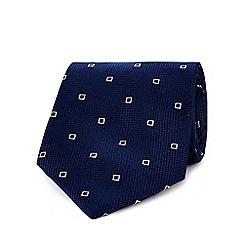 Osborne - Navy textured square print tie