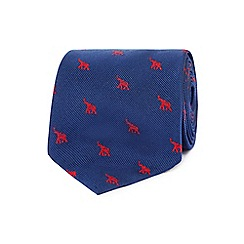 Osborne - Blue and red elephant print tie