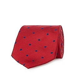 Osborne - Red silk spot print tie