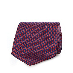 Osborne - Red pure silk basket weave tie