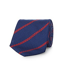 Osborne - Navy and red pure silk striped tie