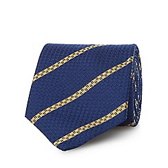 Osborne - Navy and yellow pure silk striped tie