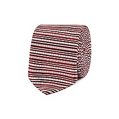 Red Herring - Red textured stripe slim tie