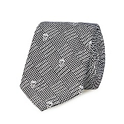 Red Herring - Black skull and micro dogtooth jacquard slim tie