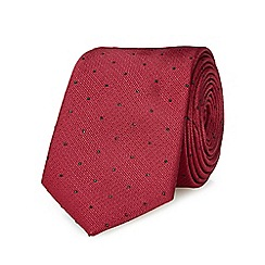 Red Herring - Dark red textured and spot slim tie