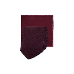 Red Herring - Purple floral jacquard skinny blade tie and pocket square