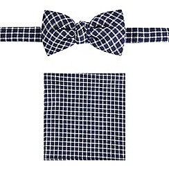 Red Herring - Navy checked bow tie and pocket square set