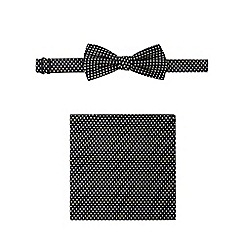 Red Herring - Black polka dot bow tie and pocket square set