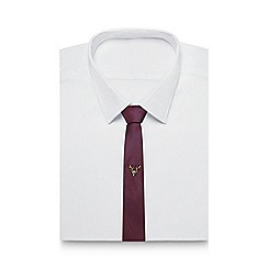 Red Herring - Dark red textured two-tone slim tie
