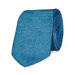 Red Herring - Blue stag brooch textured slim tie