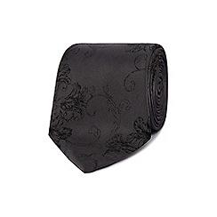 Jeff Banks - Grey floral print sketched tie