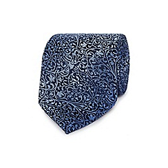 Jeff Banks - Blue textured leaf silk tie